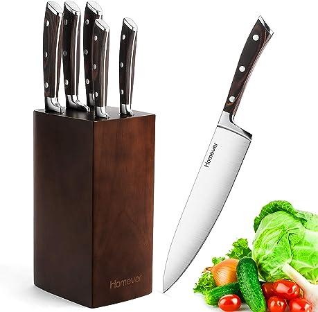 Homever Couteaux De Cuisine Ensemble De 5 Couteaux Avec Bloc En