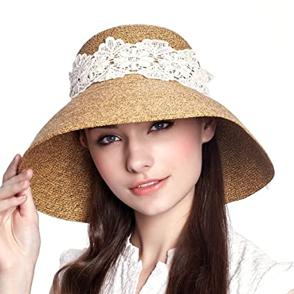 78f96abe7eb Ezyoutdoor Women s Foldable Lace Hat UPF 50+ Wide Brim Floppy Hat Summer  Beach Cap Sunscreen