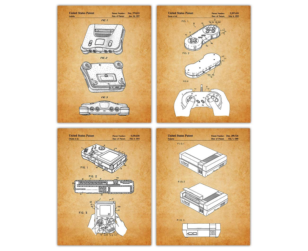 Vintage Video Game Patent Poster Prints – Set of 4 Unframed 8x10 Photos - Unique Wall Art for Home, Room, Dorm & Office Decor - Great Gift Idea Under $20 for Gamers & Video Game Enthusiasts