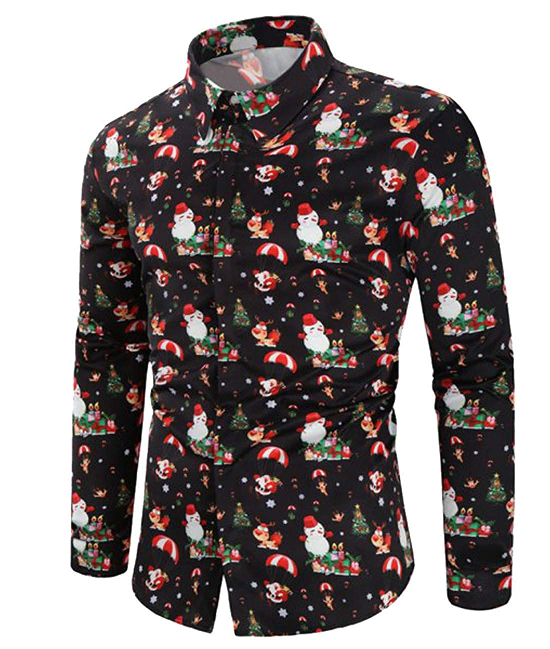 CHyaog Herren Hemd Weihnachten Weihnachtshemd Thema 3D Digitaldruck Knö pfbar Langarm Freizeit Xmas Bluse Shirt