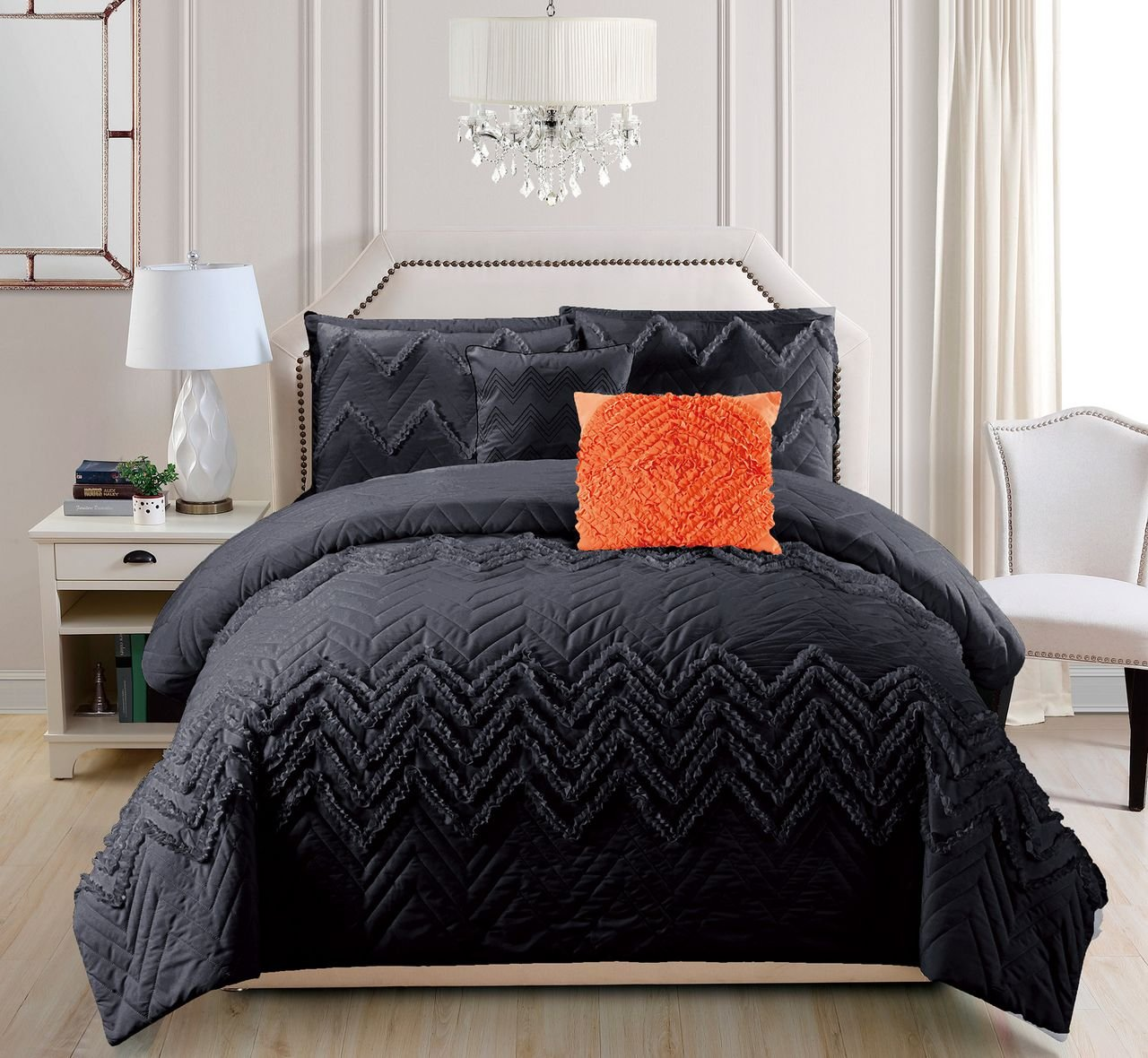10 Piece Chilco Charcoal Bed in a Bag Set Queen