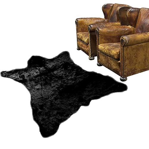 Faux Fur Black Bearskin Pelt Shaggy Shag Accent Lodge Cabin Area Rug