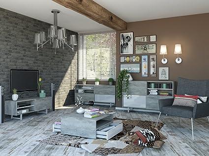 Soggiorno componibile moderno color cemento e laccato bianco lucido ...