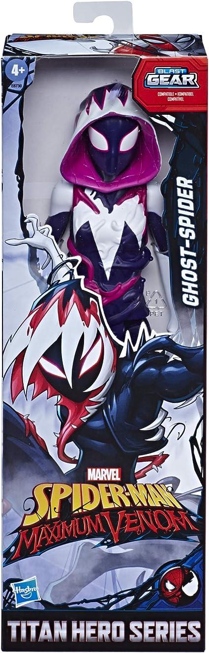 ab 4 Jahren inspiriert durch das Marvel Universe Hasbro Spider-Man Maximum Venom Titan Hero Miles Morales Action-Figur Blast Gear-kompatibler R/ücken-Port