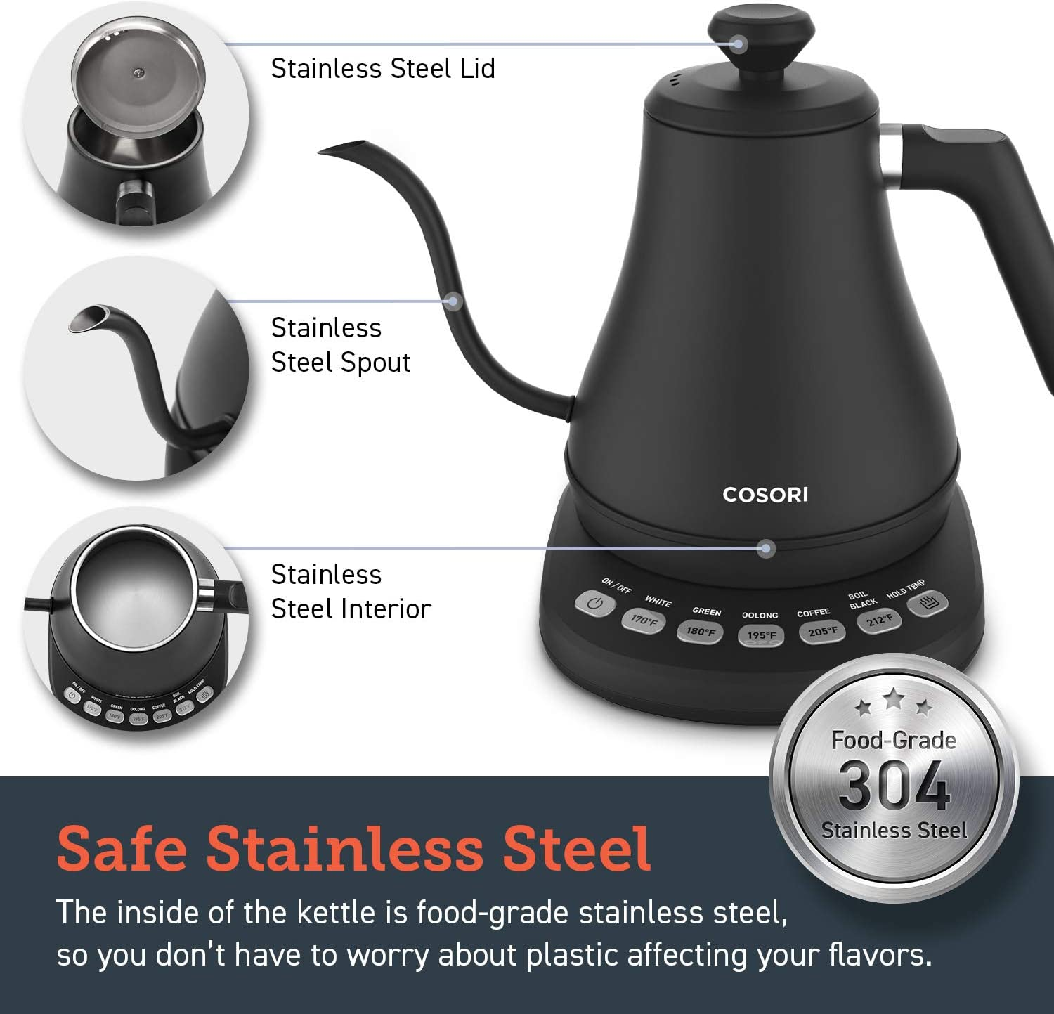 COSORI Electric Gooseneck Kettle with 5 Variable Presets, Pour Over Coffee Kettle & Tea Kettle, 100% Stainless Steel Inner Lid & Bottom, 1200 Watt Quick Heating, 0.8L, Matte Black