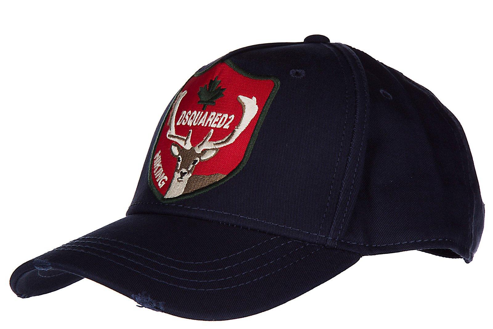 Dsquared2 adjustable men's cotton hat baseball cap gabardine blu