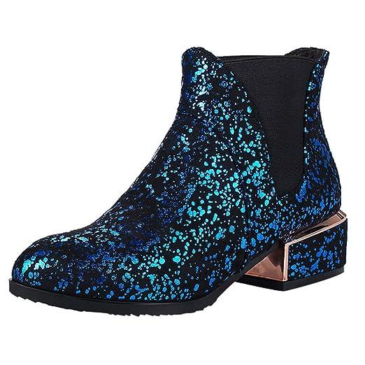 Toamen Botines con Lentejuelas De Las Mujeres,Zapatos Cuadrados De TacóN Alto Bota Corta Martin Retro Salvaje: Amazon.es: Ropa y accesorios