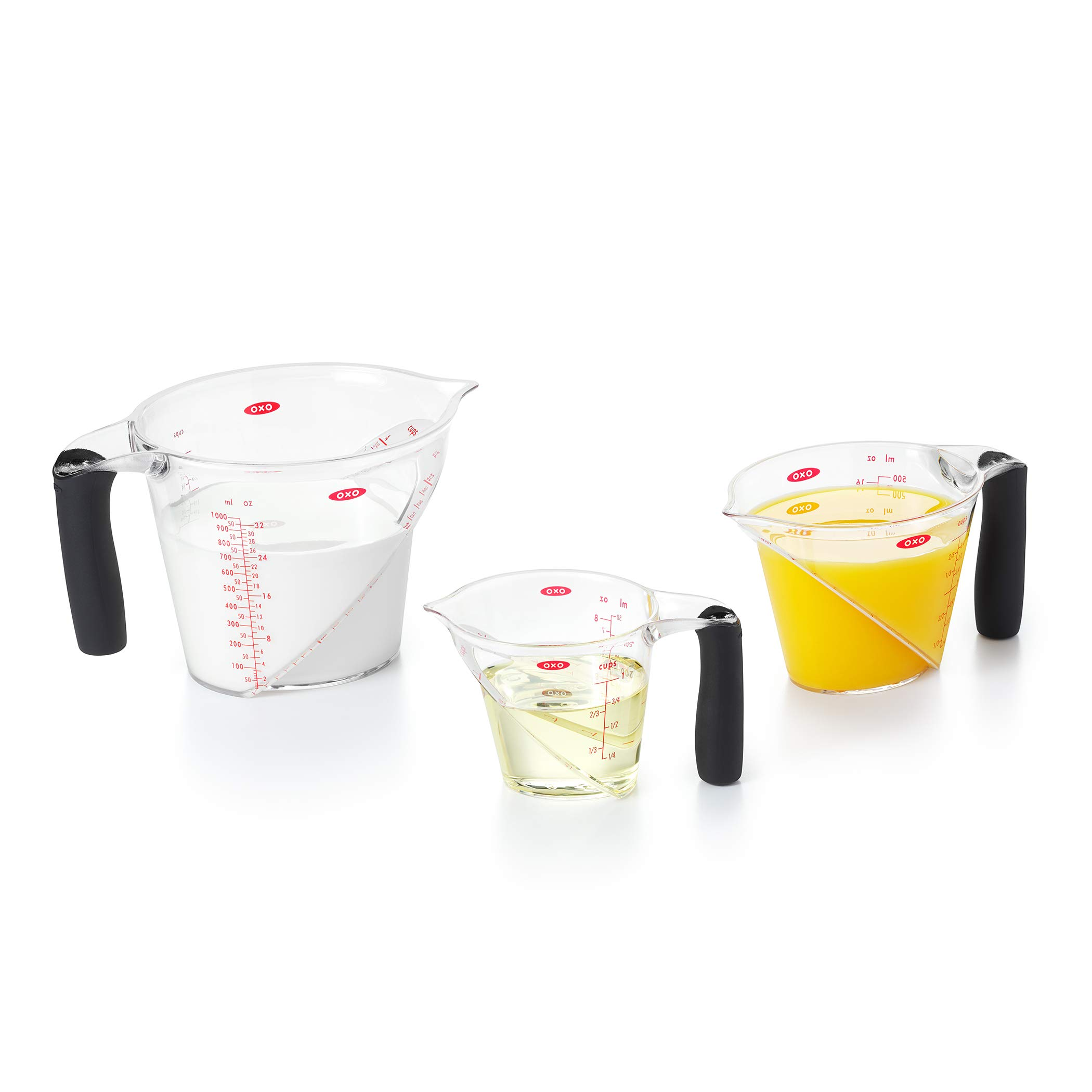 OXO 1056988 Good Grips 3-Piece Angled Measuring Cup Set, BLACK by OXO