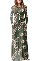 Sunfury Women Boho Floral Print Long Sleeve Casual Maxi Long Dress with Pocket