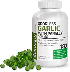 Bronson Odorless Garlic with Parsley Capsules 500 mg - Supports Cardiovascular Health - Promotes Immune Function, Non-GMO, 180 Softels