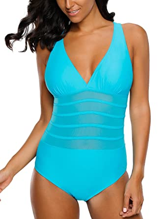 9925d863d0 LookbookStorre Womens Mesh Back Crisscross Straps One Piece Swimsuit  Bathing Suit Deep SkyBlue Size XX-Large (US 20-22) at Amazon Women s  Clothing store