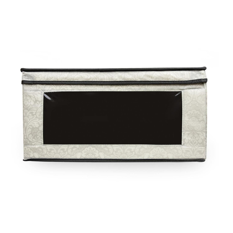 CC Home Furnishings 18.5'' Black and Gray Damask Floral Patterned Multipurpose Storage Bin