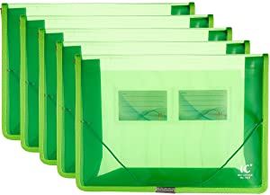 A4 Plastic Wallet File Folders, Expandable Poly Envelope File Wallet Document Folder with Elastic Cord Closure and Card Slot, Waterproof Office Home School File Organization (Green, 5 Pack)