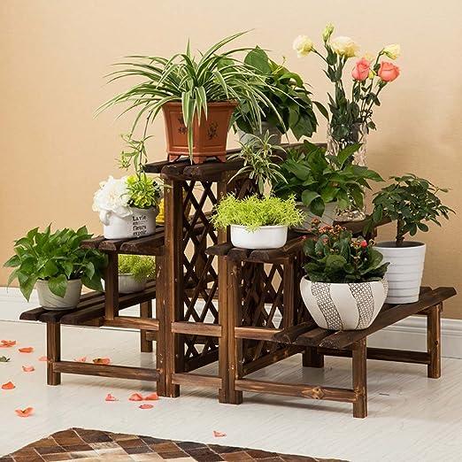 AIDELAI antiséptico sólido madera Escalera – Soporte para flores Flower Pot accesorio de patio jardín pérgolas: Amazon.es: Jardín