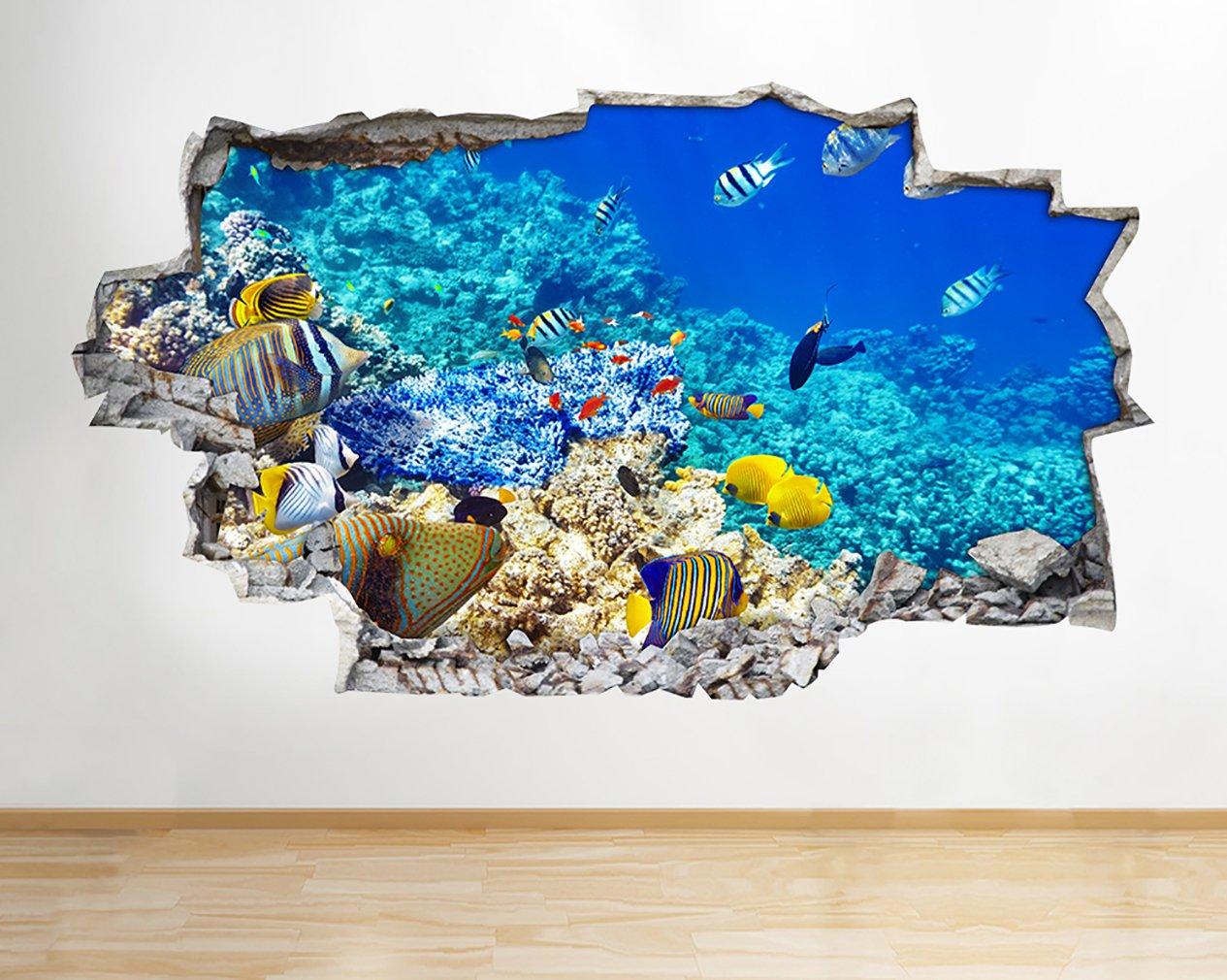 A192 Pegatinas de pared para acuario, pecera, acuario, sala de estar, sala de estar, 3D, para niños, dormitorio, cuarto de bebé, sala de estar fresca, ...