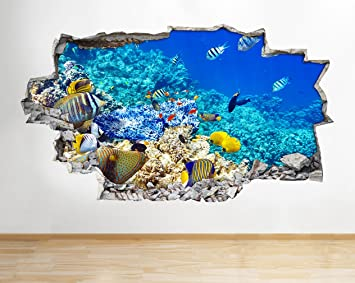 A192 Pegatinas de pared para acuario, pecera, acuario, sala de estar, sala de estar, 3D, ...