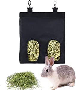 PAKCAE Rabbit Hay Feeder, Hay Rack Feeder for Rabbits Guinea Pigs Chinchilla Bunny Hay Feeder, Rabbit Food Dispenser Feeders for Cages Hanging, Hay Bag Manger Storage Container