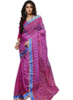Trendz Cotton Silk Saree (Tz_Pink_Chokda_Blue)