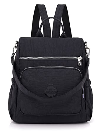 JJAI Cute Nylon Backpacks Pure Color backpacking lightweight Mochilas de mujer (Black)