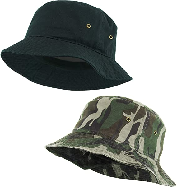 d4aaf615bcfff H-219-2-0684 2-Pack Bucket Hat  Black and Camo at Amazon Men s ...