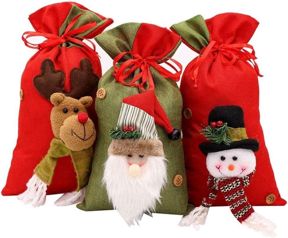 3pcs Reusable Christmas Bags for Gifts