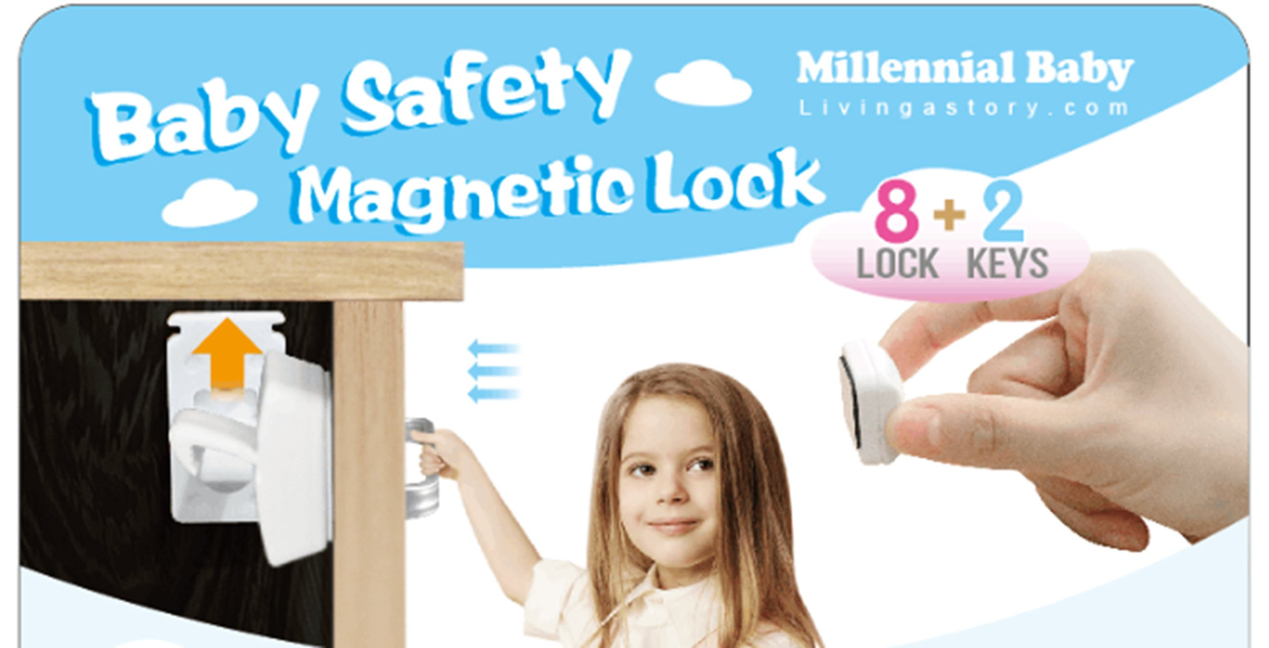 Baby proof magnetic cabinets locks- 8 kitchen cabinet drawers latches no screws without drilling 2 keys .Adhesive mag lock child proofing system. Hidden magnet catch for babies, infants, pet proof too