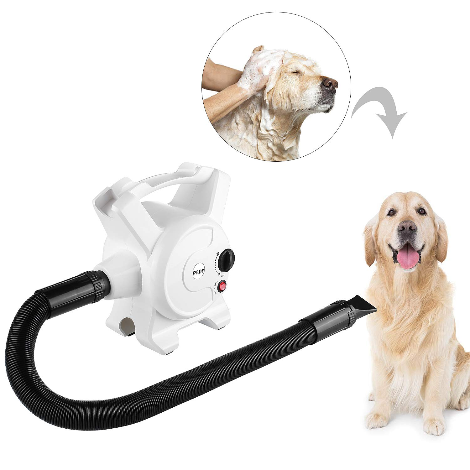 PEDY Dog Hair Dryer 3.2 HP Stepless Adjustable Speed Pet Grooming Dryer for Cat Blower with 3 Different Nozzles 2400W