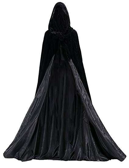 Aorme halloween hooded cloaks medieval costumes cosplay wedding capes robe  large black jpg 423x550 Medieval silk bd7fab7e4