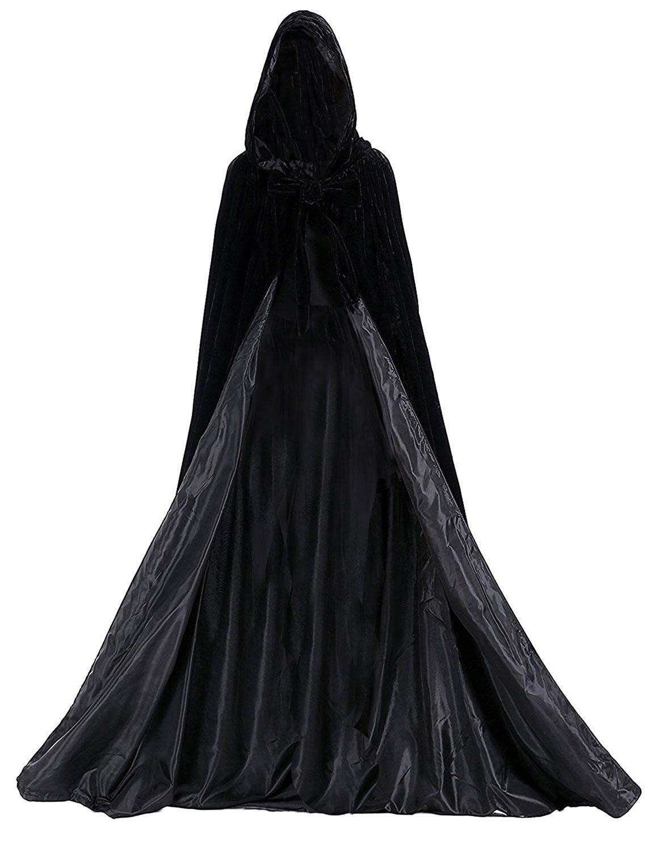 Aorme Halloween Hooded Cloaks Medieval Costumes Cosplay Wedding Capes Robe (Medium, Black)
