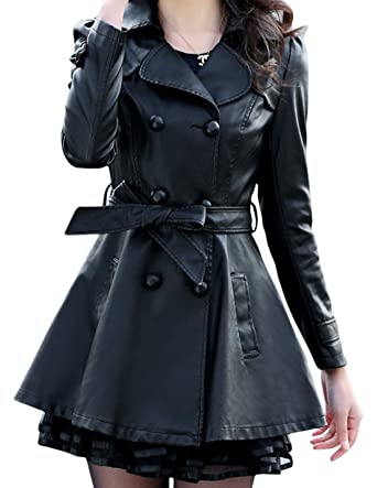 05366bf957f Women's Fashion Double-Breasted Lace Faux Leather Windbreaker Trench Coat  (X-Small,
