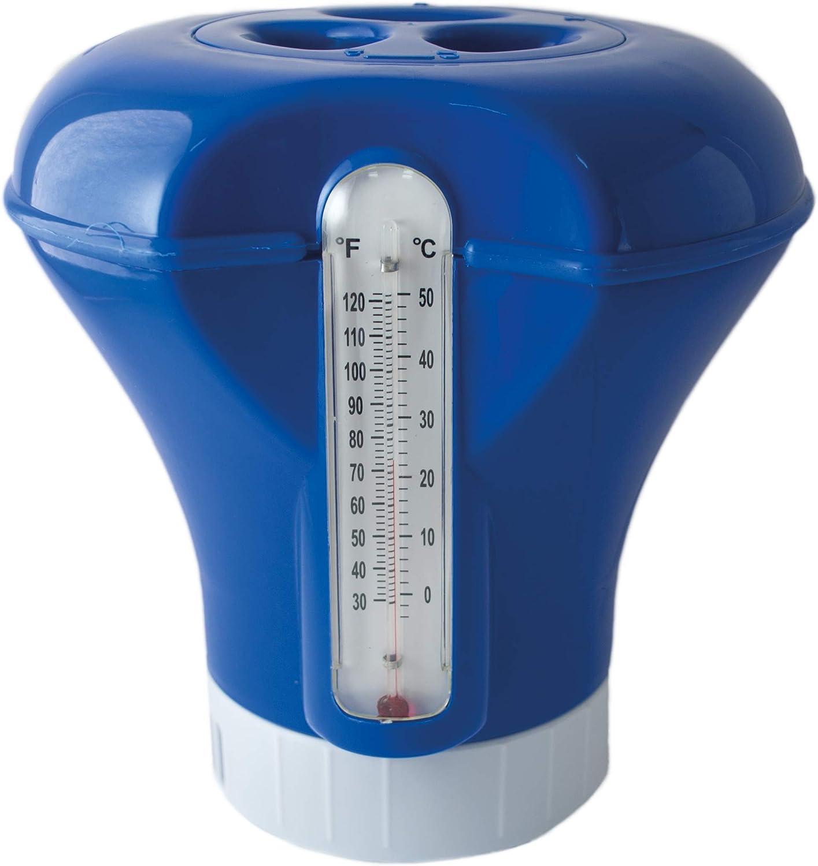 SIQUA Dispensador de Cloro Flotante con termometro, Ajustable, Mediano para Piscina. Capacidad para Pastillas de 200 g
