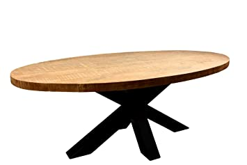 Idea Table A Manger Ovale En Bois De Mangue Massif 220 X 100 Cm Avec