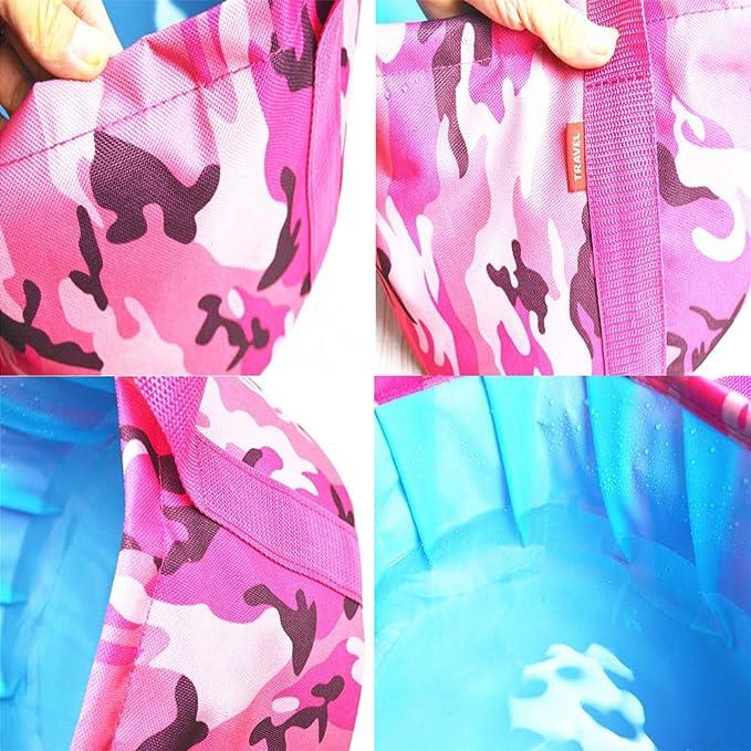gotyou 15L Lavabo Plegable Port/átil,Cubo de Agua de Viaje,Cuenco Plegable Multifuncional para Viajes al Aire Libre,Camping,Senderismo Cubo de Pesca Itinerante,Camuflaje Rojo