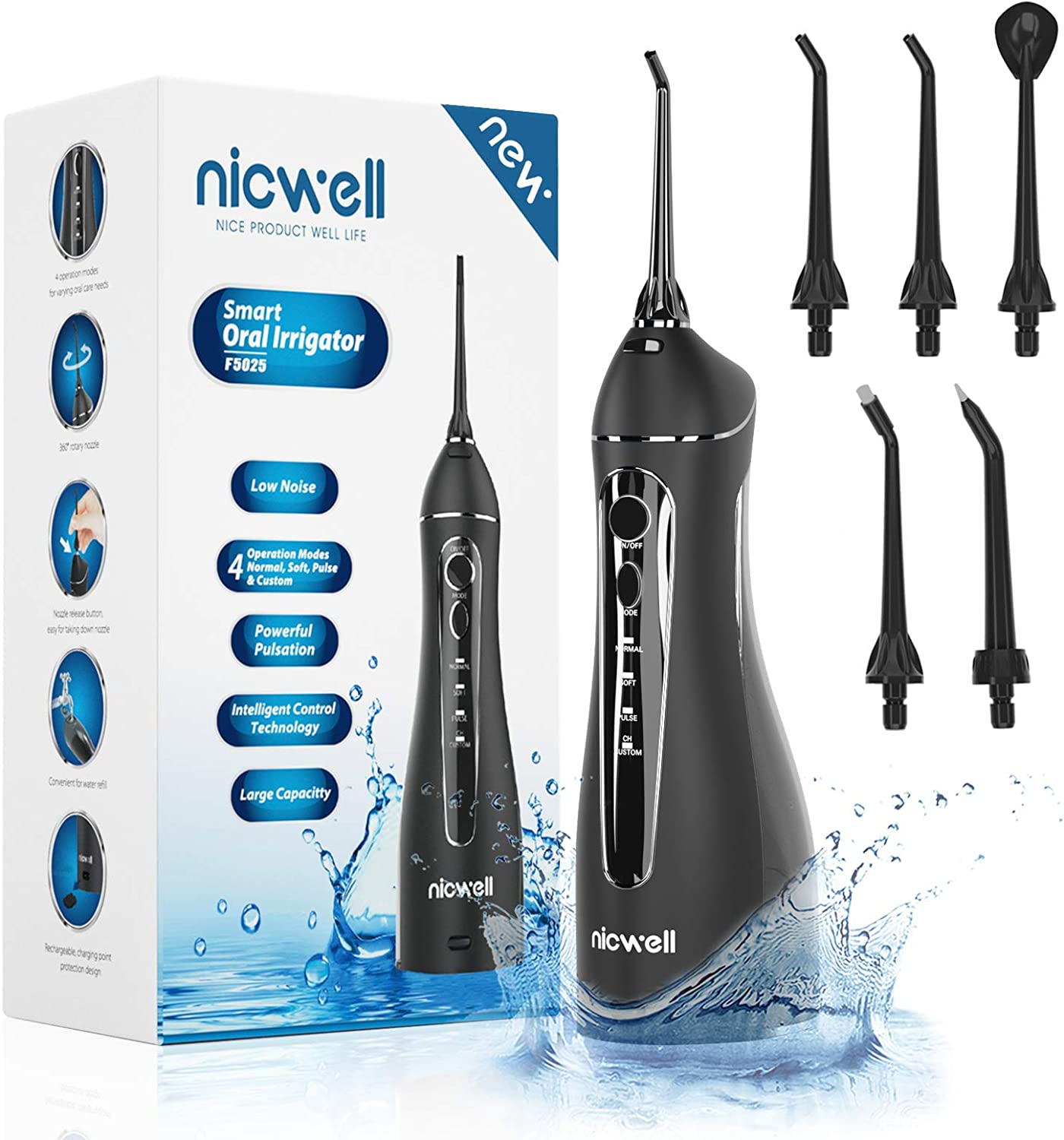 Water Flosser Cordless for Teeth - Nicwell 4 Modes Dental Oral Irrigator, Portable and Rechargeable IPX7 Waterproof Powerful Battery Life Water Pick Teeth Cleaner for Home Travel: Health & Personal Care