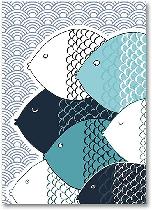 Whale Under Sea Houses Wall Art Canvas Pictures Abstract Man Fishing