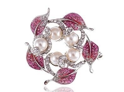 Amazon com: Alilang Rose Pink Faux Cream Pearl Leaf Wreath