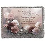 """Serenity Prayer with Flowers Tapestry Throw Blanket 50"""" x 60"""""""