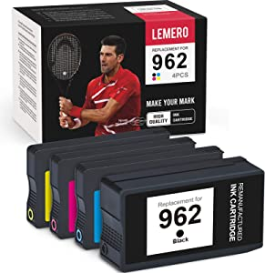 LEMERO Remanufactured Ink Cartridge Replacement for HP 962 962XL to use with OfficeJet Pro 9015 9010 9025 9020 9018 9012 9028 (Black, Cyan, Magenta, Yellow, 4-Pack)
