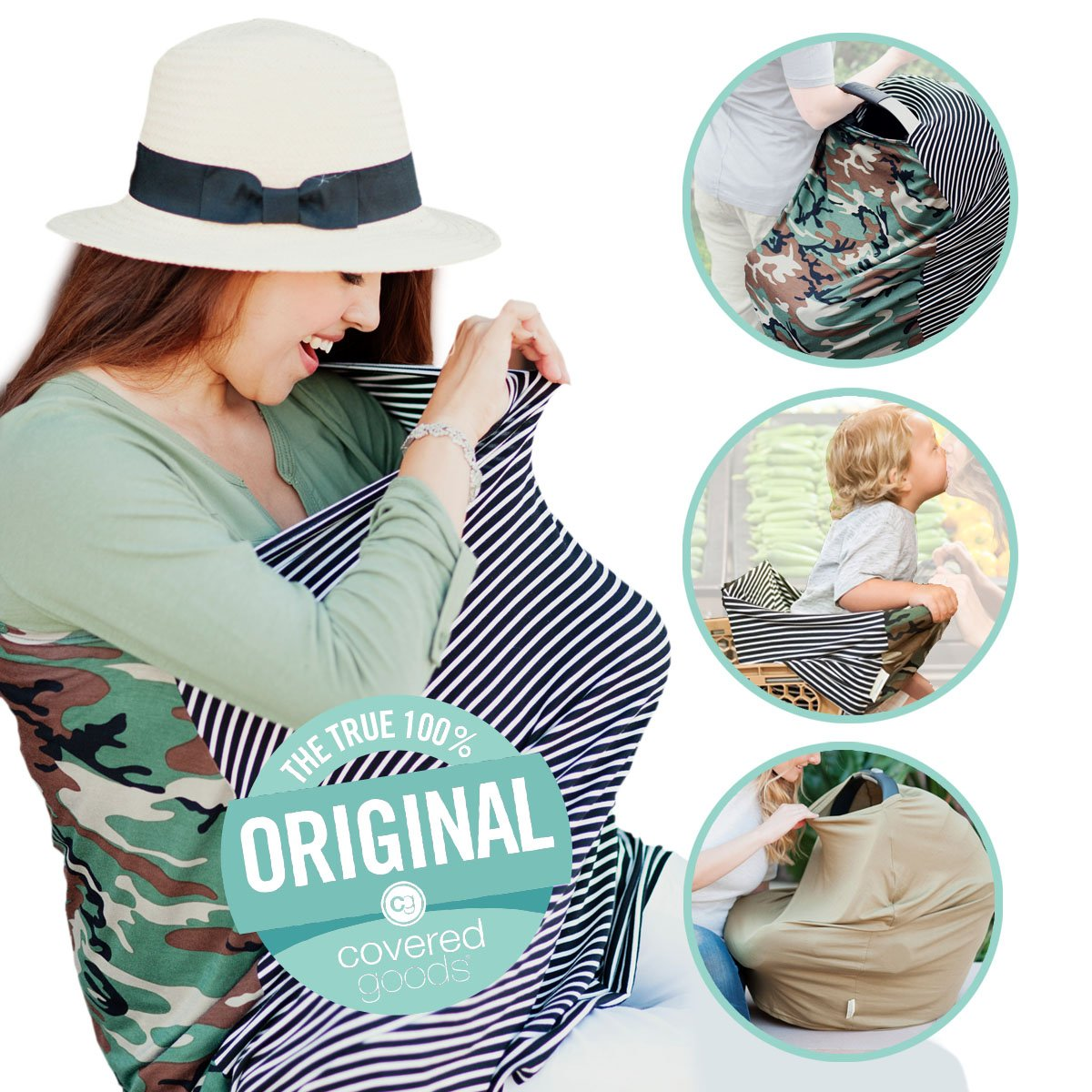 Covered Goods - The Original Multi Use Maternity Breastfeeding Nursing Cover, Infinity Scarf, and Car Seat Cover - Camo Mismatch by Covered Goods