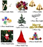 SC Terrycloth Christmas Cap with White Rice Light, 1 feet Christmas Tree and Tree Decorations Set -Total Combo of 13 Pieces