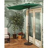 CASTLECREEK 8' Half Round Patio Umbrella, Hunter Green