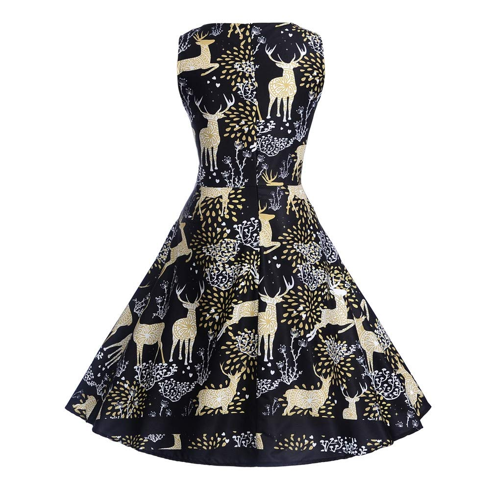 Women Dresses Godathe Women Christmas Sleeveless Neck Evening Printing Party Prom Swing Dress S-2XL at Amazon Womens Clothing store:
