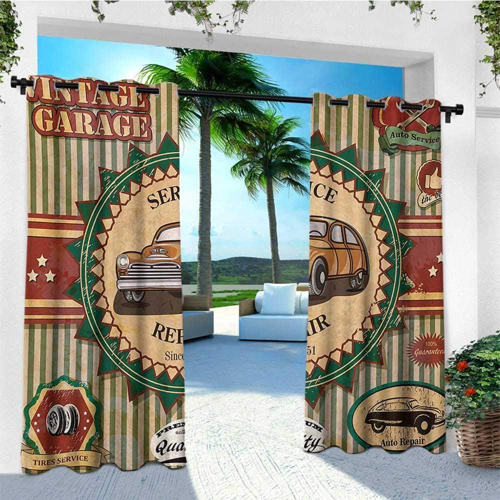 Leinuoyi Retro, extremos de cortina para exteriores, colección de etiquetas retro vintage para coche en colores descoloridos, 60 citas de ironía, juego de cortinas para exteriores para patio impermeable 96 x 108