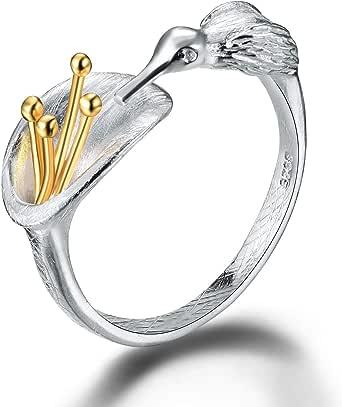 خاتم لوتس فن S925 فضة استرليني خواتم الطنان مفتوحة مصنوعة يدويا مجوهرات هدايا فريدة للنساء والفتيات