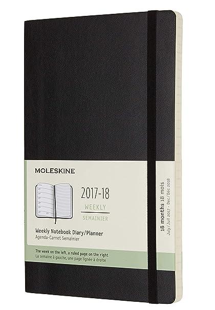 Moleskine DSB18WN3Y18 - Agenda semanal 2017-2018, 18 meses, tapa blanda, color negro