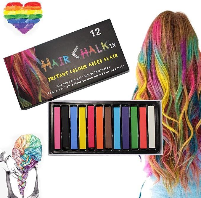 Tiza para el cabello, 12 colores Color temporal para el cabello, para niños y adultos - Lavable y no tóxico - Ideal para Halloween, carnaval, fiestas, ...