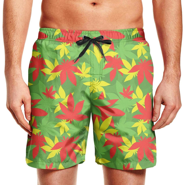 Men Beach Shorts Cannabis Yoga Chemistry Side Split Swim Drawstring Waist Board Shorts