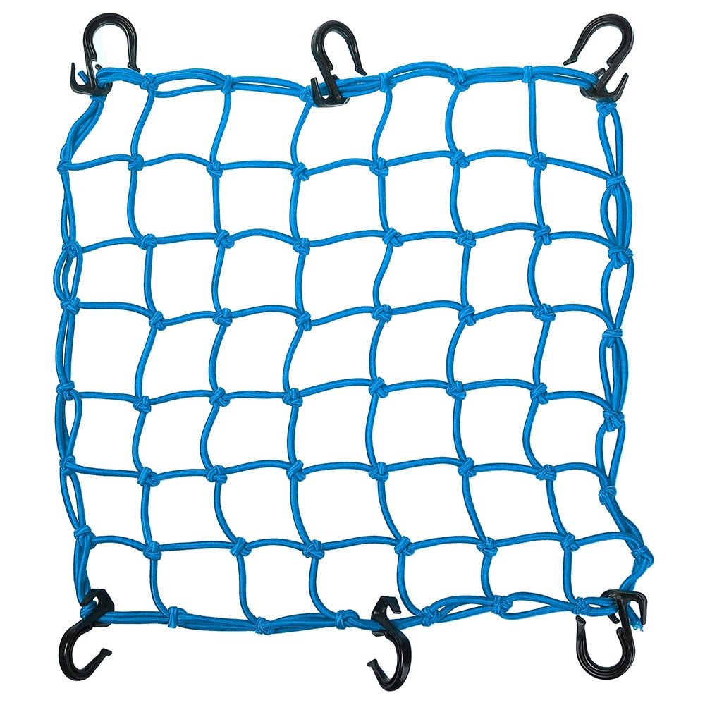 15''x15'' Bungee Cargo Net 6 Adjustable Hook Stretch to 30''x30'' Motorcycle Blue