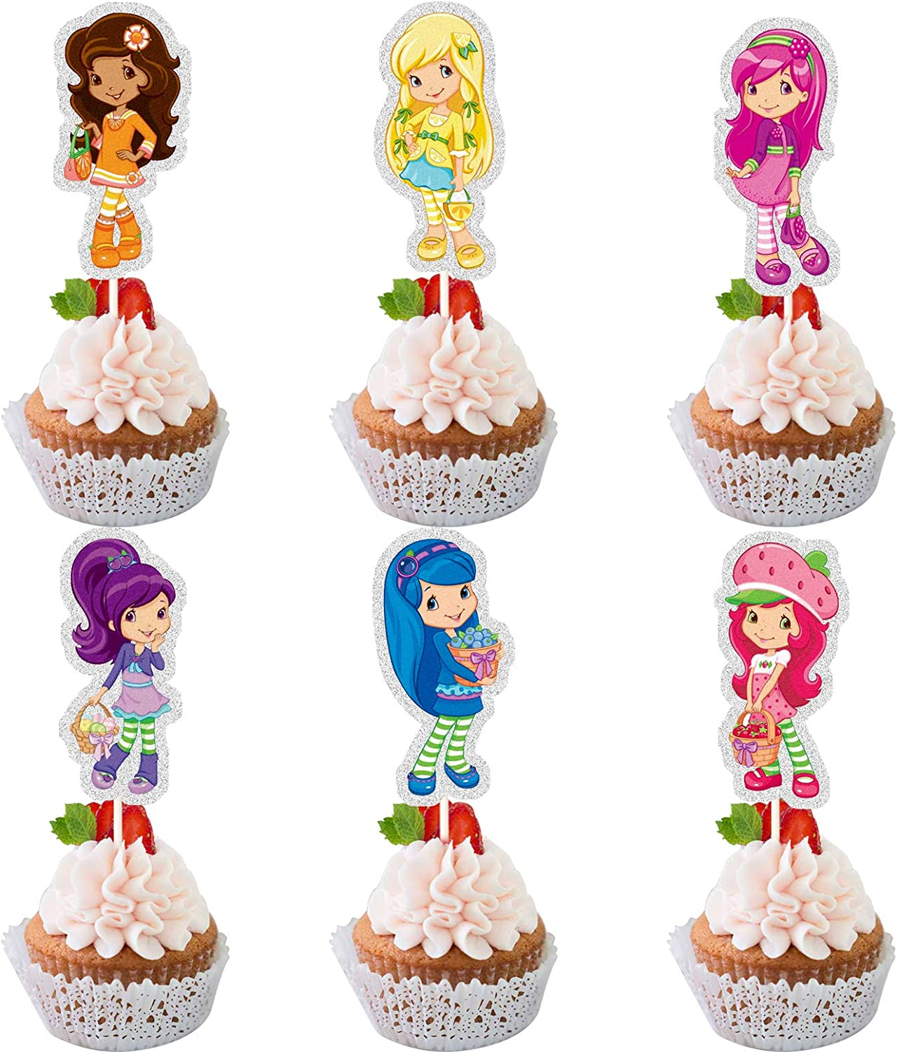 LYNHEVA Glitter Strawberry Shortcake Cupcake Topper, Berry Bitty Adventures Theme Birthday Party Suppliers, Fruits Girls Cupcake Decoration, Girls Bday Party Favor