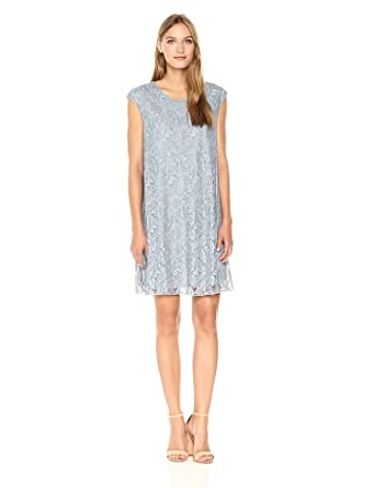 Max Studio Women's Cap Sleeve Short Lace Dress, Stone Washed Chambray, Small
